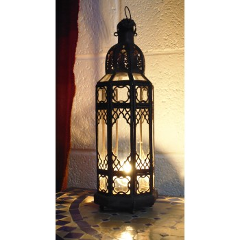 moroccan candle lantern with clear panels.