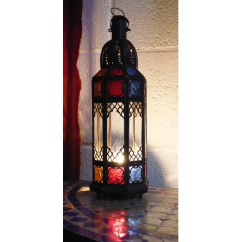 moroccan candle lantern with clear and coloured panels.