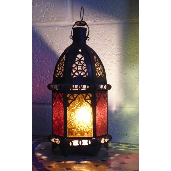 moroccan candle lantern with coloured panels.