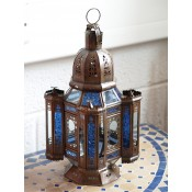 handmade moroccan candle lantern with blue & clear panels.