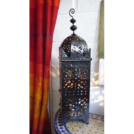 moroccan metal lantern suitable for candles or electric fitting.