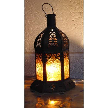 moroccan candle lantern with amber panels.