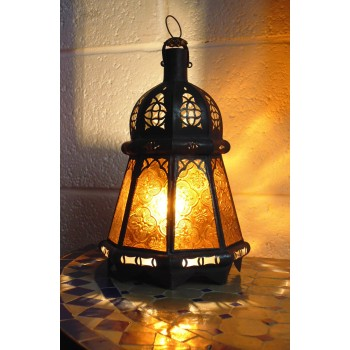 handmade moroccan candle lantern with amber coloured panels.