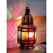 moroccan candle lantern with coloured glass panels.