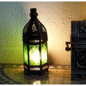 moroccan candle lantern with green glass panels