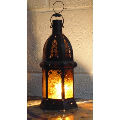 moroccan candle lantern with amber glass.