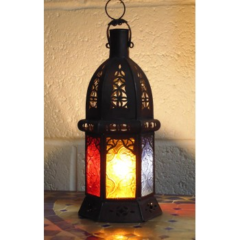 moroccan candle lantern with coloured glass