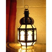 moroccan candle lantern with white frosted glass panels.