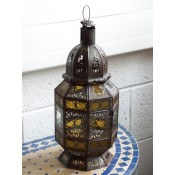 stunning lantern with clear and amber colour glass. 