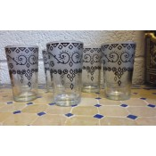 set of 6 moroccan tea glasses with white frosted and henna design