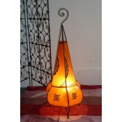 handmade moroccan henna lamp natural colour with henna design.