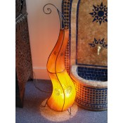 handmade amber moroccan henna lamp with henna design.