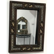 moroccan mirror with decorative bone and metal frame and doors