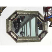moroccan mirror with silver and leather frame