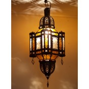 moroccan lantern with clear and amber coloured panels.