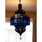handmade moroccan lantern with blue panels.