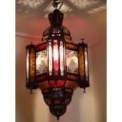 stunning moroccan mosque lantern with clear, red and amber coloured glass.