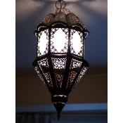 moroccan lantern with white frosted panels.