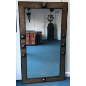 stunning large moroccan mirror with bronzed embossed metal decorative detail