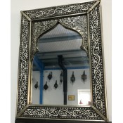 moroccan mirror with black, white and silver design