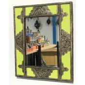 moroccan mirror with lime green resin & silver design frame.