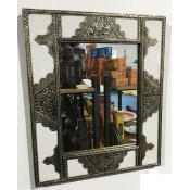 moroccan mirror with white and silver design