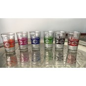 set of 6 moroccan tea glasss in in a selection of colours with silver design.
