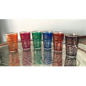 set of 6 moroccan tea glasss in in a selection of vibrant colours with gold design.