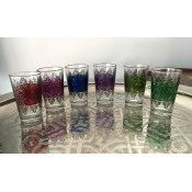 set of 6 moroccan tea glasses in a selection of vibrant colours with henna design.