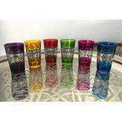 set of 6 moroccan tea glasss in in a selection of colours with henna design.