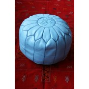 Moroccan Leather Pouffe - Blue 2