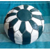 handstitched green and white moroccan leather pouffe.