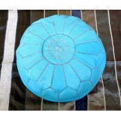 Moroccan Leather Pouffe - Blue 1