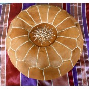 moroccan leather pouffe - brown