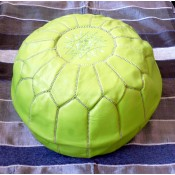 Moroccan Leather Pouffe - Green 1