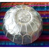 handmade moroccan faux leather pouffe in silver