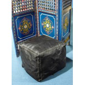 Moroccan Leather Pouffe - LSQ