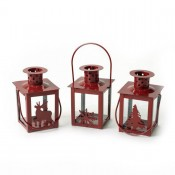 Set Of Three Red Metal & Glass Candle Lantern with Christmas Sillhouettes