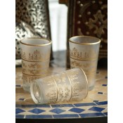 set of six moroccan tea glasses with frosted white and gold design.