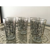 set of 6 moroccan tea glasses with henna pattern.