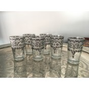 set of 6 moroccan tea glasses with white frosted and henna pattern.
