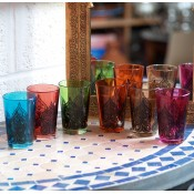 set of 6 moroccan tea glasss in in a selection of colours with gold design.