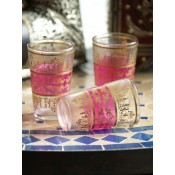a set of 6 pink moroccan tea glasses.