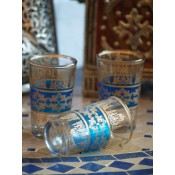 set of six moroccan tea glasses in blue with gold design.  £17