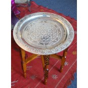moroccan brass (gold) coloured tea tray table with iron legs.