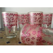 set of 6 moroccan tea glasses with a pink & silver design
