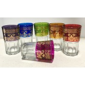 set of 6 moroccan tea glasss in in a selection of vibrant colours with henna design
