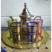 Moroccan Tea Set for 4 Brass