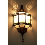 moroccan wall lamp with white frosted glass panels.