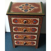 moroccan-zouak-hand-painted-chest of drawers - red